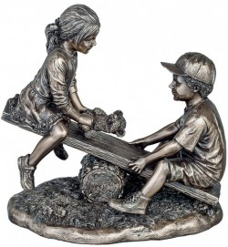 Picture of See Saw Bronze Boy and Girl Figurine