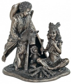 Picture of Cowboys and Indians Bronze Boy and Girl Figurine