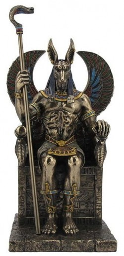 Picture of Anubis Holding Cobra Sceptre Sitting Figurine 27 cm
