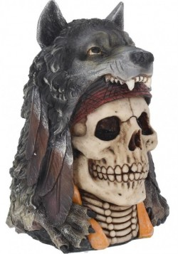 Picture of Wolf Spirit Skull Ornament 23cm