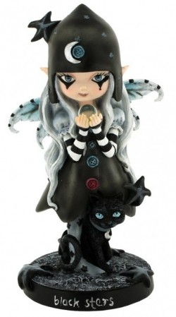 Picture of Black Stars Witch Fairy with Cat Figurine 18 cm