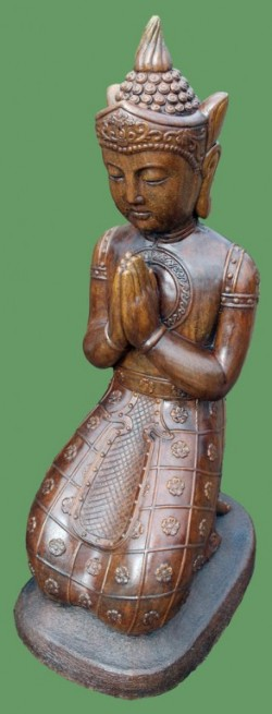 Picture of Kneeling Buddha Stone Statue Large Burnt Umber