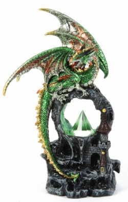 Picture of Green Dragon Tower Portal Figurine Light Feature 28 cm NEW