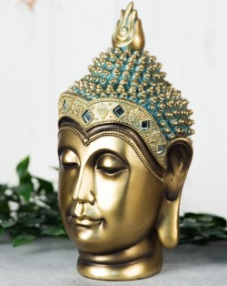 Picture of Buddha Head Figurine 24 cm Verdigris Bronze