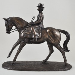 Picture of Side Saddle Cold Cast Bronze Horse Riding Sculpture by Harriet Glen