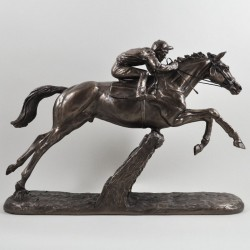 Picture of The Hurdler Cold Cast Bronze Horse and Jockey Horse Racing Sculpture by Harriet Glen
