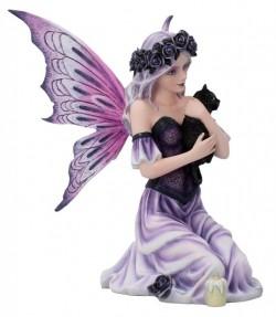 Picture of Gothic Rose Fairy Holding Black Cat Twilight Comfort Figurine 25cm