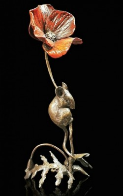 Picture of Mouse with Poppy Bronze Figurine (Limited Edition) Michael Simpson