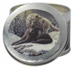 Picture of Snow Kisses Tin Scented Candle - Winter Breeze (Lisa Parker Wolf Artwork)
