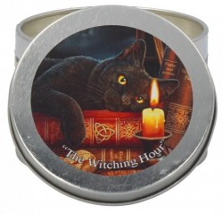 Picture of The Witching Hour Tin Scented Candle - Patchouli (Lisa Parker Cat Artwork)