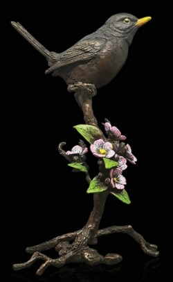 Picture of Blackbird with Blossom Bronze Figurine with Wooden Presentation Box (Limited Edition) Keith Sherwin NEW