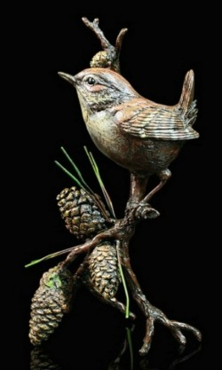 Picture of Wren with Pinecones Bronze Figurine with Wooden Presentation Box (Limited Edition) Keith Sherwin NEW