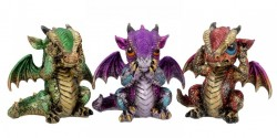 Picture of Three Wise Dragon Ornaments 8.5cm (Set of 3)