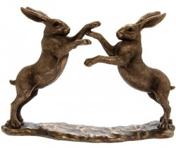 Picture of Boxing Hares Bronzed Figurine Leonardo Collection Small