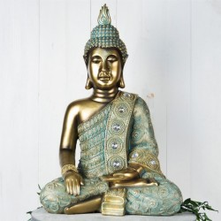Picture of Large Sitting Buddha Figurine 52 cm Verdigris Bronze