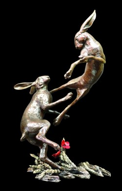 Picture of Hares Boxing Bronze Figurine Limited Edition Michael Simpson