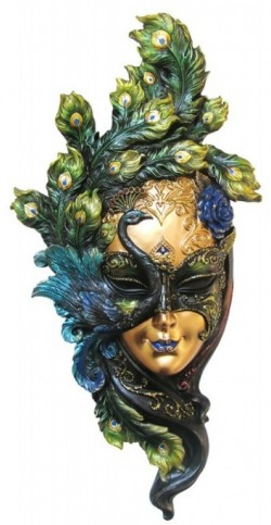 Picture of Venetian Mask Peacock Wall Plaque COLOUR