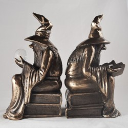 Picture of Bronze Wizard Bookends MINOR DAMAGE SECOND