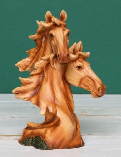 Picture of Horse Heads Wood Effect Resin Figurine Juliana Collection