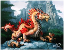 Picture of Gold Mountain Dragon Canvas Picture (Anne Stokes) 25 x 20 cm