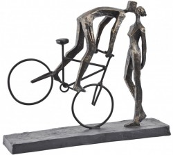 Picture of Man On Bike Kissing Antique Bronze Couple Sculpture Large