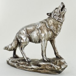 Picture of Antique Silver Howling Wolf Figurine