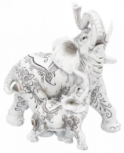 Picture of Henna Decorative Elephant and Calf Ornament