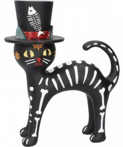 Picture of Day of the Dead Top Hat Cat Figurine