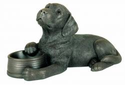 Picture of Labrador with Bowl Bronze Ornament