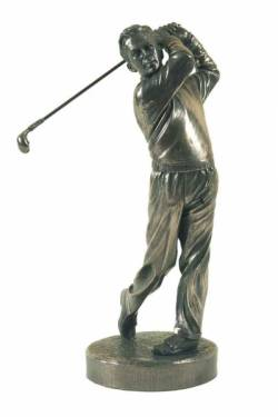 Picture of The Swing Golf Bronze Gold Sculpture