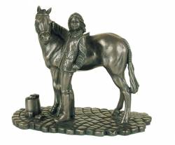 Picture of Girl and Pony Bronze Ornament