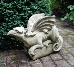 Picture of Griffin Looking Up Stone Sculpture