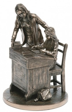 Picture of Teacher and Girl Bronze Figurine