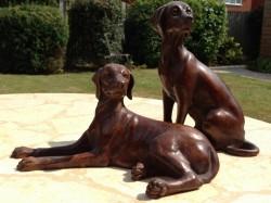 Picture of Pair of Vizslas Bronze Figurines