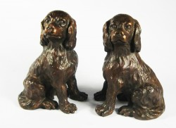 Picture of Pair of King Charles Cavalier Spaniels Bronze Ornaments