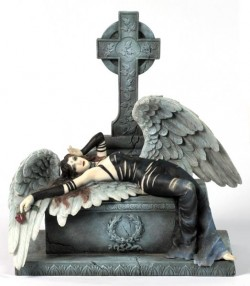Picture of Gothic Angel Holding Rose Figurine