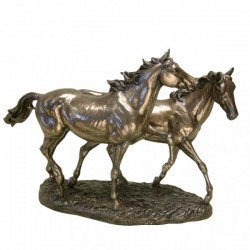 Picture of Two Trotting Horses Large Bronze Figurine (Juliana)