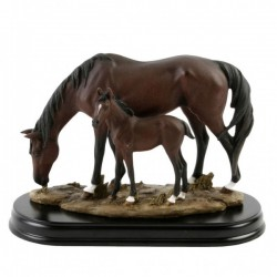 Picture of Horse and Foal on Wooden Base (Juliana)