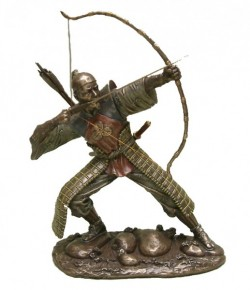 Picture of Samurai Drawing Bow Bronze Figurine