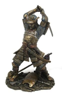 Picture of Samurai Attacking Bronze Figurine Sword Above Head