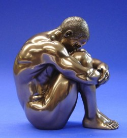 Picture of Nude Man Sitting Bronze Figurine 12 cm