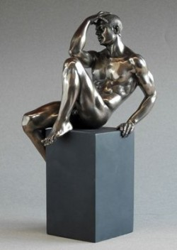 Picture of Nude Male Bronze Figurine on Plinth