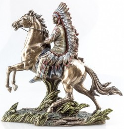 Picture of Buffalo Hunter Native American on Horse Bronze Figurine