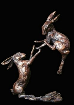 Picture of Boxing Hares Bronze Miniature (Butler and Peach)