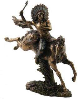Picture of Tomahawk Warrior on Horseback Bronze Figurine 31cm