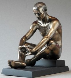 Picture of Contemplation Nude Male Seated Bronze Figurine