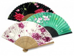 Picture of Floral Mixed Designs Japanese Fan (Set of 3)