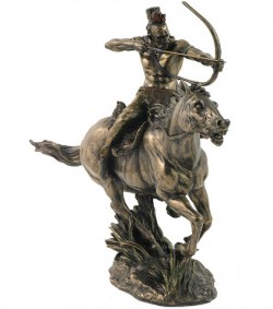 Picture of Mohican Warrior on Horseback Bronze Figurine