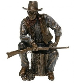 Picture of John Wayne Cowboy Sitting with Rifle Bronze Figurine
