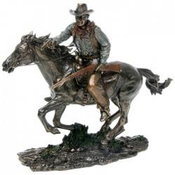 Picture of Cowboy on Horseback Bronze Figurine